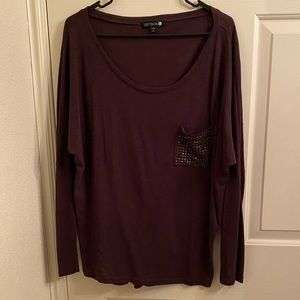 Purple oversized shirt with beaded pocket